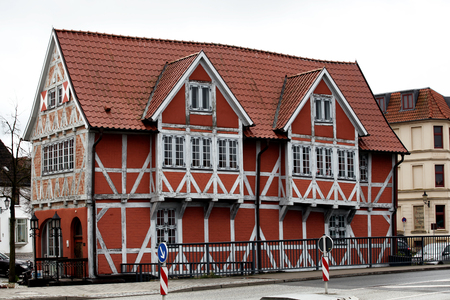 Red wooden Fachwerk house in the old Wismar Stock Photo