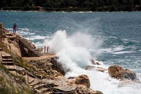 Photo-opportunity at the cliffs of Rovinj