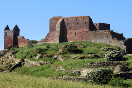 Medieval defence in the Baltic Sea: Hammerhus. A huge castle ruins complex. Stock Photo - 116661102