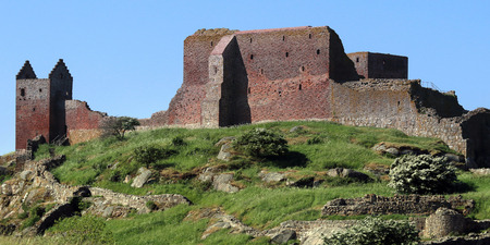 Panoramic view of Hammerhus, one of the largest contiguous castle ruins complexes in Northern Europe Stock Photo