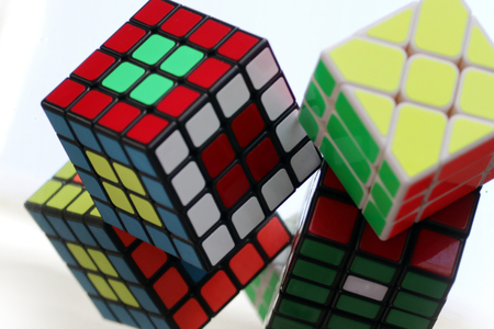 Rubiks cube proves skills and intellect Stock Photo