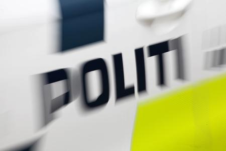 Police. Label on Danish police car. Stock Photo