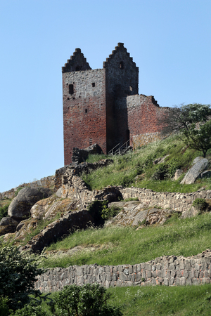 The Plum Tower, Blommetårnet, at Hammershus Stock Photo