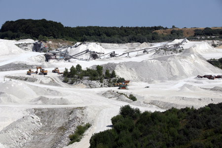 Limestone mining in Denmark. A very white place on earth. Stock Photo - 116663738