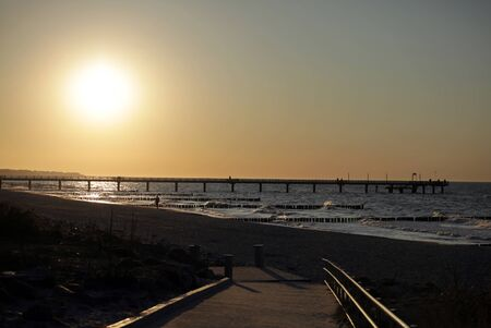 Sunset and fresh air at Heiligendamm at the mecklenburg coast, the Baltic Sea. Stock Photo - 128902475