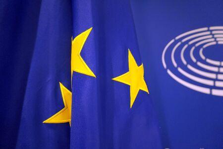 flag for the EU Parlament, European Union. Stock Photo