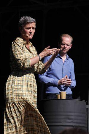 European Commissioner Margrethe Vestager in debate with Christian Jensen, ed. Danish newspaper Politiken. Danish caption: