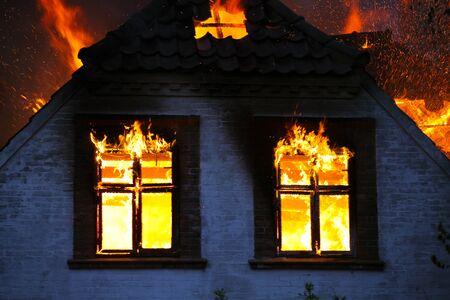 House on fire. An inferno of a fire blaze.