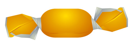 Isolated yellow candy. Candy icon