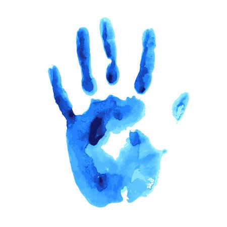 개념 또는 개념 귀여운 페인트 인간의 손에 예술 흰색 배경에 고립 된 자식