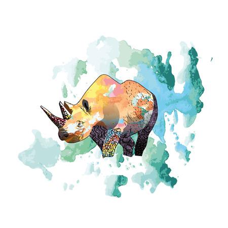 Color illustration of a rhinoceros. Vector illustration