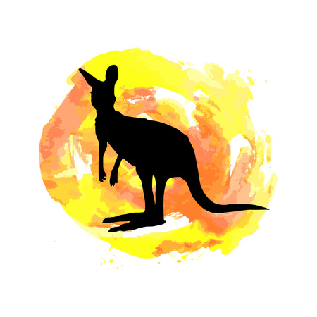 Colored hand sketch leaping kangaroo