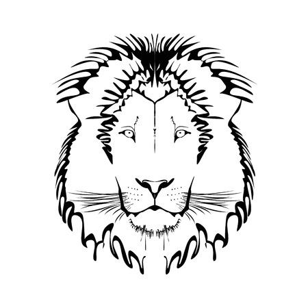 on white: Vector Black and White Tattoo King Lion Illustration