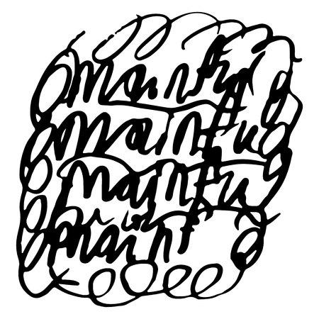 Hand gezeichnetes gestreiftes Muster. Schwarz und weiß. Designelemente gezeichnete Striche (die Wirkung von Gelstiften)