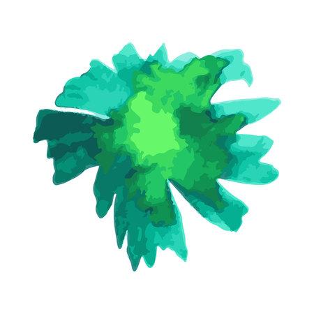 green flower. Poppy. Watercolor floral illustration. Floral decorative element. floral background