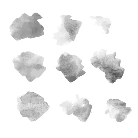 Gray watercolor spot with droplets, smudges, stains, splashes. Grayscale blot in grunge style. Illustration