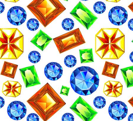 amethyst: Falling Multicolor Gems illustration. illustration. pattern multicolored gemstones, crystals of diamond, amethyst, ruby, emerald, Topaz citrine Stones Stock Photo