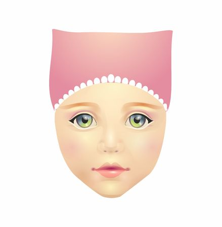 children s feet: Young woman face