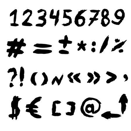 felt tip: Hand made doodle font. Doodle vector hand drawn letters. Notebook paper background. Felt tip pen.Vector numbers. Hand drawn typeface. Font illustration. number