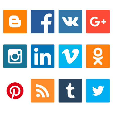 Collection of popular social media logos printed on paper:Facebook, Twitter, Google Plus, Instagram, LinkedIn, Pinterest, Vine, Youtube and others