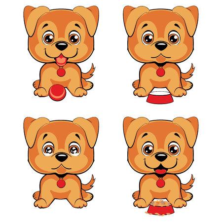 pembroke welsh corgi: Cute cartoon dogs breed Welsh Corgi Pembroke set. Children s illustration.