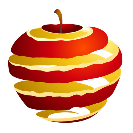 Vector illustration of an apple cutaway skin red