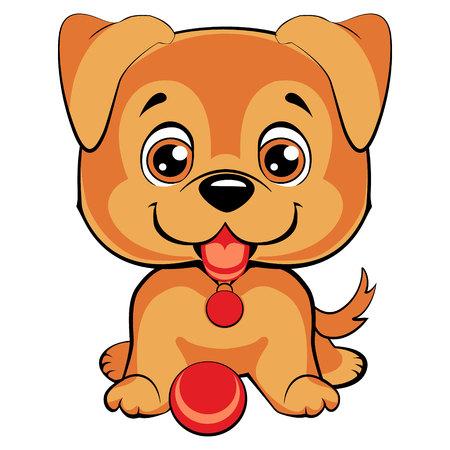 child tongue: Cute cartoon dog. Children s illustration. Funny baby animal. Vector illustration