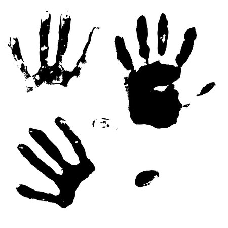 Woman s and child s handprints. Vector illustration