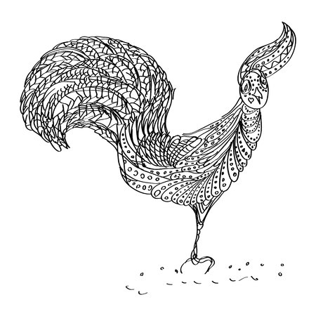 Funny Cock in vector to be traced, restore dashed line and color the picture