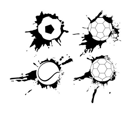 Set of hand drawn grunge banners with soccer ball. Black background with splashes of watercolor ink and blots.