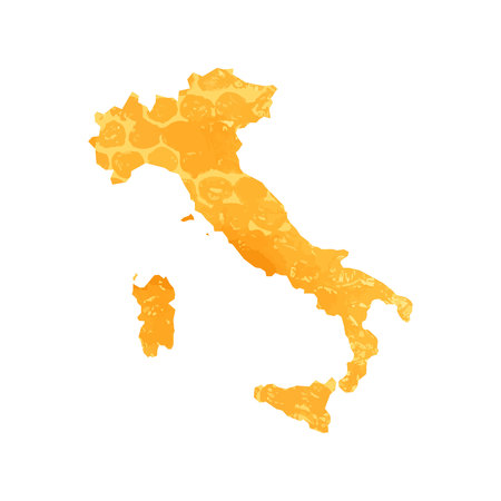 Hand drawn watercolor map of Italy isolated. Vector version