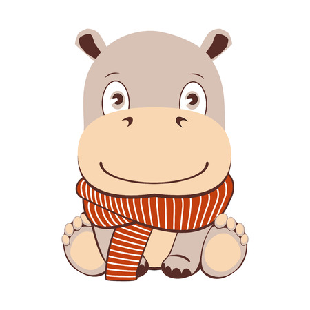 Cute cartoon hippo in kawaii style. Isolated on white background. Hippopotamus with scarf Illustration