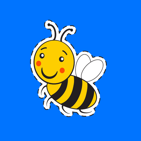 Cartoon cute striped little bumble bee or honey bee logo with a happy smile isolated on blue