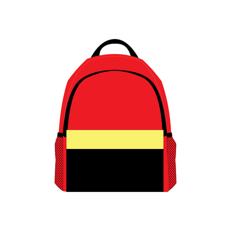 bookbag: backpack red and black icon Illustration