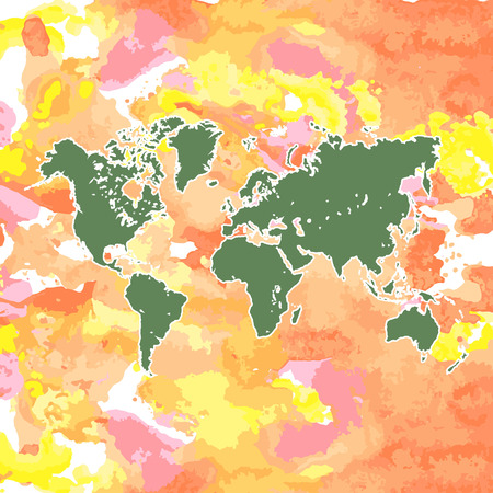 version: hand drawn watercolor world map isolated on white. Vector version