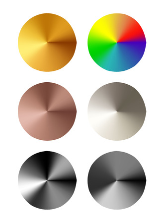 aluminium texture: Set of round templates of metal button with gold, aluminum, steel and bronze metal texture isolated on gray background Illustration