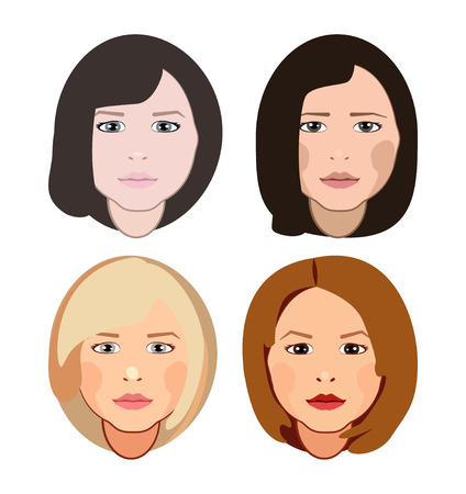 A fashion girls with hairstyles and haircuts vector eps 10. Illustration