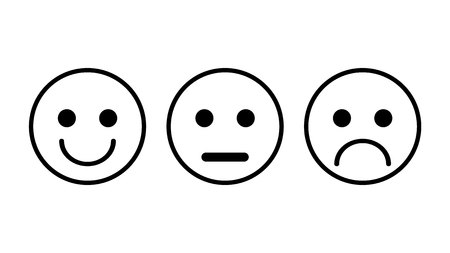 Set of 3 smiley icons. Sad, neutral, smiled. Set of three vector in white color outlined