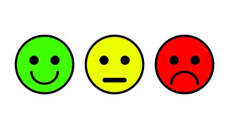 Set di 3 icone di smiley. Triste, neutrale, sorrise. Set di tre vettoriale in colore bianco delineato