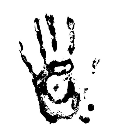 Print of hand, skin texture pattern and ink