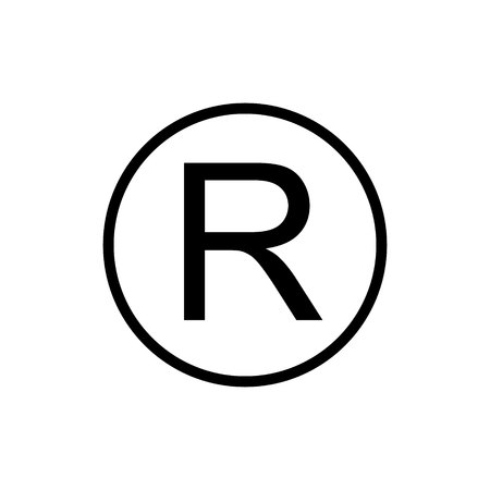Geregistreerd handelsmerk teken. Donkergrijs pictogram op transparante achtergrond.