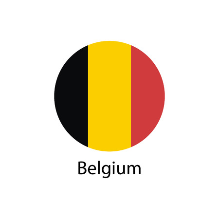Round belgium flag vector icon isolated, belgium flag button