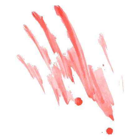 openness: Watercolor red kids handprint isolated on white background. Kids crafts.