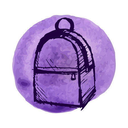 pouch: Hand drawn Vector Set of Sketch Doodle Backpacks. Illustration