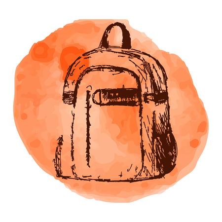 Hand drawn Vector Set of Sketch Doodle Backpacks. Illustration