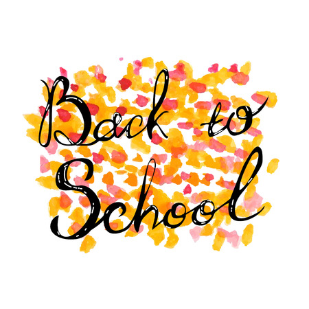 Welcome back to school hand brush lettering, on notepad crumpled paper background, with black thick backdrop. Vector illustration.