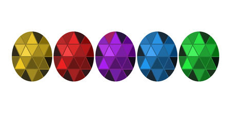 Different color crystals on white background Illustration