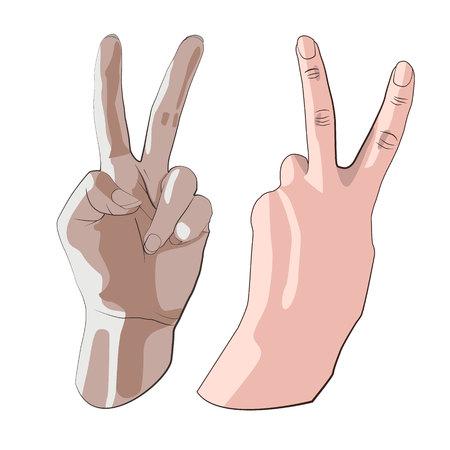 Hand gesture peace sign Illustration