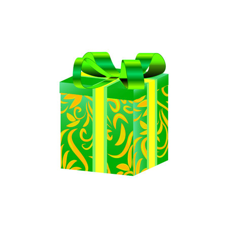 Gift box with ribbon and bow Vector illustration. Illustration