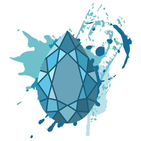 Prachtige blauwe diamanten vormen op blauwe aquarel achtergrond. Sieraden winkel embleem